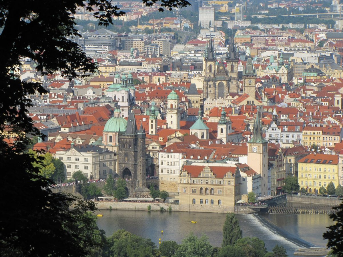 Prague Old Town from hill
